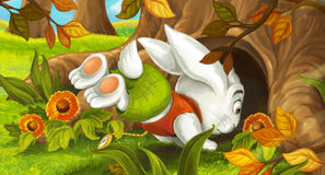 Cartoon scene in the forest with rabbit jumping into hole Royalty Free Stock Images