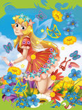 Cartoon scene framed - like cover - beauty - fairy flying over flower field. Happy and colorful traditional illustration for children Royalty Free Stock Photos