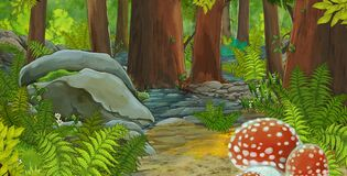Cartoon scene with friendly animal in the forest