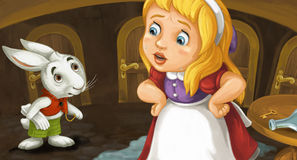 Cartoon scene with girl crying near the table with key and bottle on it talking to cute rabbit Royalty Free Stock Photo