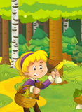 Cartoon scene with girl gathering mushrooms Royalty Free Stock Image