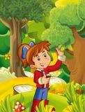 Cartoon scene with girl gathering mushrooms Stock Photos