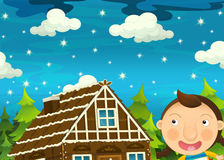 Cartoon scene with girl near traditional house by night Stock Images
