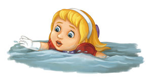 Cartoon scene with girl swimming in the water Royalty Free Stock Image