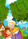 Cartoon scene - granddaughter and grandmother Stock Photo