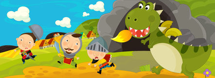 Cartoon scene - green dragon and the knights Royalty Free Stock Images