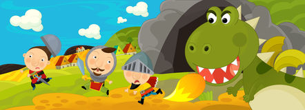 Cartoon scene - green dragon and the knights Stock Images