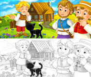Cartoon scene - group of people talking - life in small village - old medieval times - with coloring page Stock Photos