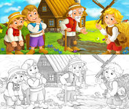 Cartoon scene - group of people talking - life in small village - old medieval times Royalty Free Stock Images