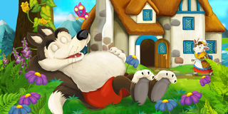 Cartoon scene royalty free illustration
