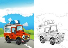 Cartoon scene with happy fireman off road car on the road with coloring page. Illustration for children stock illustration