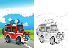 Cartoon scene with happy fireman off road car on the road with coloring page. Illustration for children vector illustration