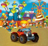 Cartoon scene with happy and funny kids on the playground and in the car cabriolet. Beautiful and colorful illustration for children for different fairy tales Stock Image