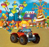 Cartoon scene with happy and funny kids on the playground and in the car cabriolet. Beautiful and colorful illustration for children for different fairy tales Stock Images