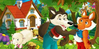 Cartoon scene with happy and funny sheep running jumping near farm house and wolf is looking at fox in the forest stock illustration