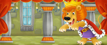 Cartoon scene with happy lion - cat - looking like a king Royalty Free Stock Image
