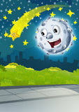 Cartoon scene with happy moon or meteorite and shooting star by night Stock Images