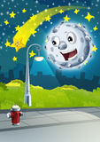 Cartoon scene with happy moon or meteorite and shooting star by night Stock Photos