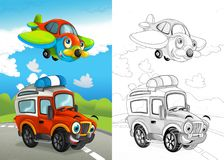 Cartoon scene with happy off road car on t0he road and plane flying with coloring page vector illustration