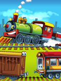 Cartoon scene of happy trains on tracks Stock Photography
