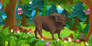 Cartoon scene with happy wild aurochs standing in the forest Stock Image