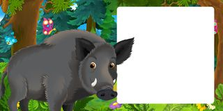 Cartoon scene with happy wild boar standing in the forest - with space for text royalty free illustration
