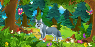 Cartoon scene with happy wolf standing in the forest Royalty Free Stock Photos