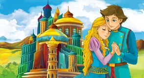 Cartoon scene with happy young boy and girl - princess and prince standing near the castle. Illustration for children royalty free illustration