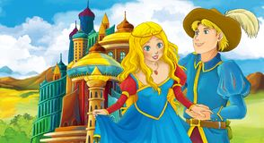 Cartoon scene with happy young boy and girl - princess and prince standing near the castle. Illustration for children stock illustration