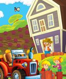 Cartoon scene with happy young children and farmer on the farm - tractor for different tasks Royalty Free Stock Photo
