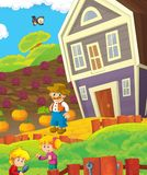 Cartoon scene with happy young children and farmer on the farm - tractor for different tasks Stock Image