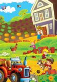 Cartoon scene with happy young children and farmer on the farm - tractor for different tasks Stock Photography