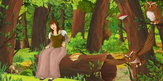 Cartoon scene with happy young girl in the forest encountering pair of owls flying royalty free illustration