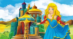 Cartoon scene with happy young girl - princess near the castle. Illustration for children royalty free illustration