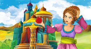 Cartoon scene with happy young girl - princess near the castle. Illustration for children vector illustration
