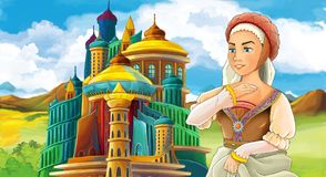 Cartoon scene with happy young girl - princess near the castle. Illustration for children stock illustration