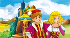 Cartoon scene with happy young girl - princess and prince near the castle. Illustration for children stock illustration