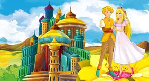 Cartoon scene with happy young girl - princess and prince near the castle. Illustration for children royalty free illustration