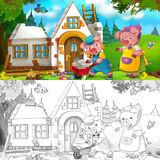 Cartoon scene of hard working pig - son is talking to mother while building a house - with coloring page Royalty Free Stock Photography