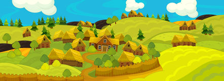 Cartoon scene of the historical village - background for different usage Stock Images