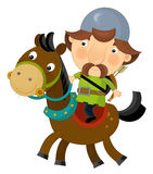 Cartoon scene on a horseman - archer - isolated Stock Images