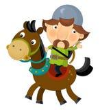 Cartoon scene on a horseman - archer - isolated Stock Photo