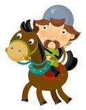 Cartoon scene on a horseman - archer - isolated Royalty Free Stock Photos
