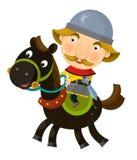 Cartoon scene on a horseman - isolated Royalty Free Stock Photo
