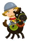 Cartoon scene on a horseman - isolated Royalty Free Stock Photos