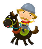 Cartoon scene on a horseman - isolated Stock Photos