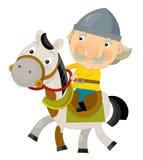 Cartoon scene on a horseman - isolated Stock Photo
