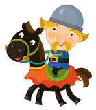 Cartoon scene on a horseman - isolated Royalty Free Stock Photography