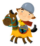 Cartoon scene on a horseman - isolated Royalty Free Stock Images
