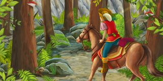 Cartoon scene with a horseman riding through the forest to unknown. Beautiful and colorful illustration for the children - for different usage - for fairy tales royalty free illustration